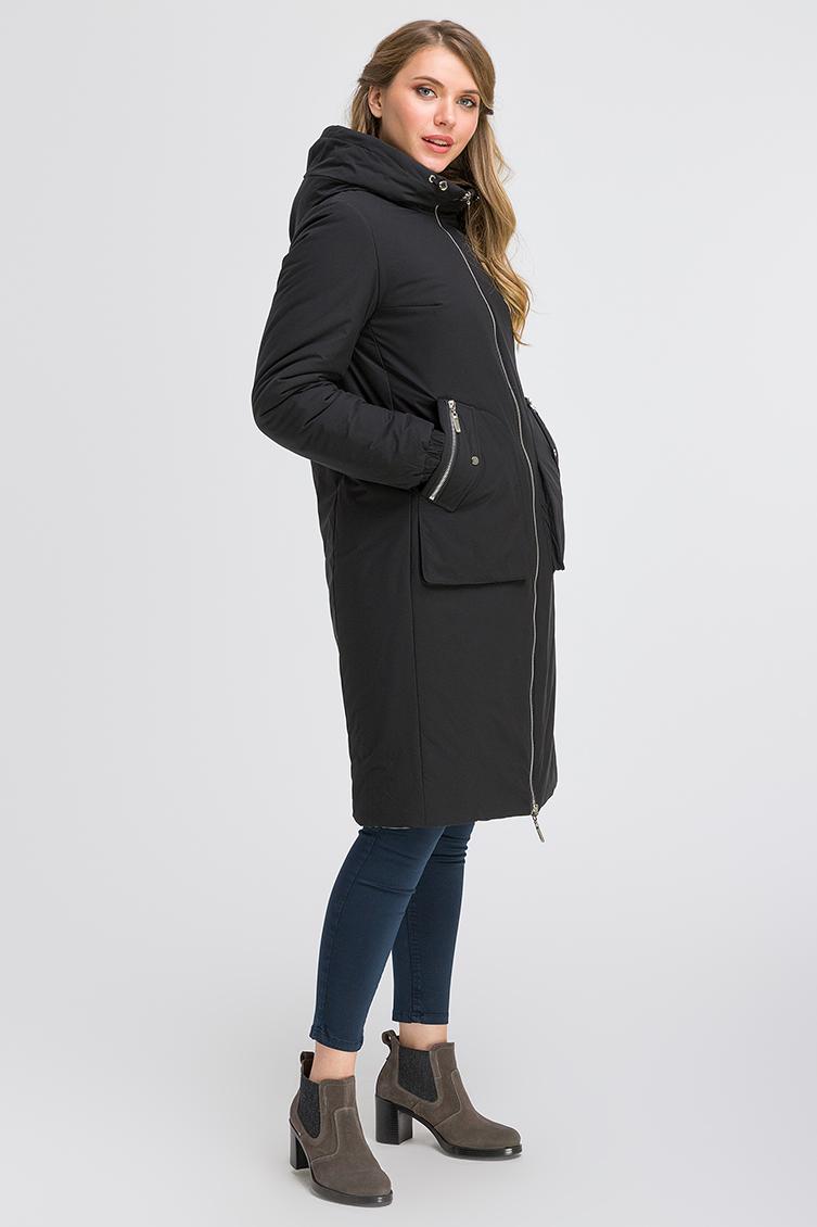 Двустороннее женское пальто на осень с капюшоном фото