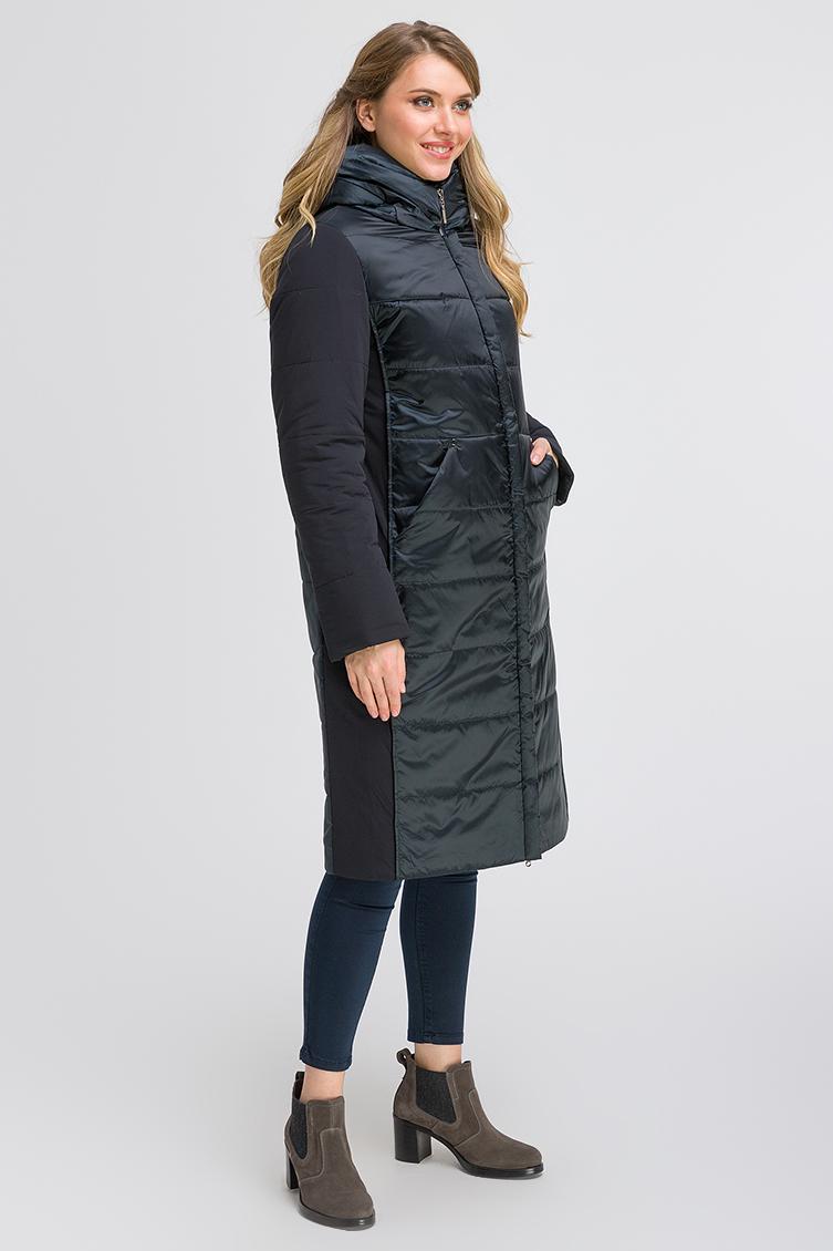 Итальянское длинное комбинированное пальто фото