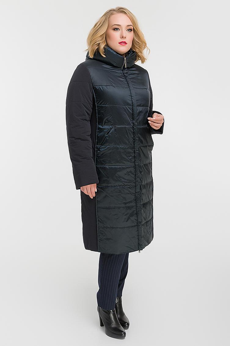 Стеганое женское пальто с капюшоном на большой размер фото