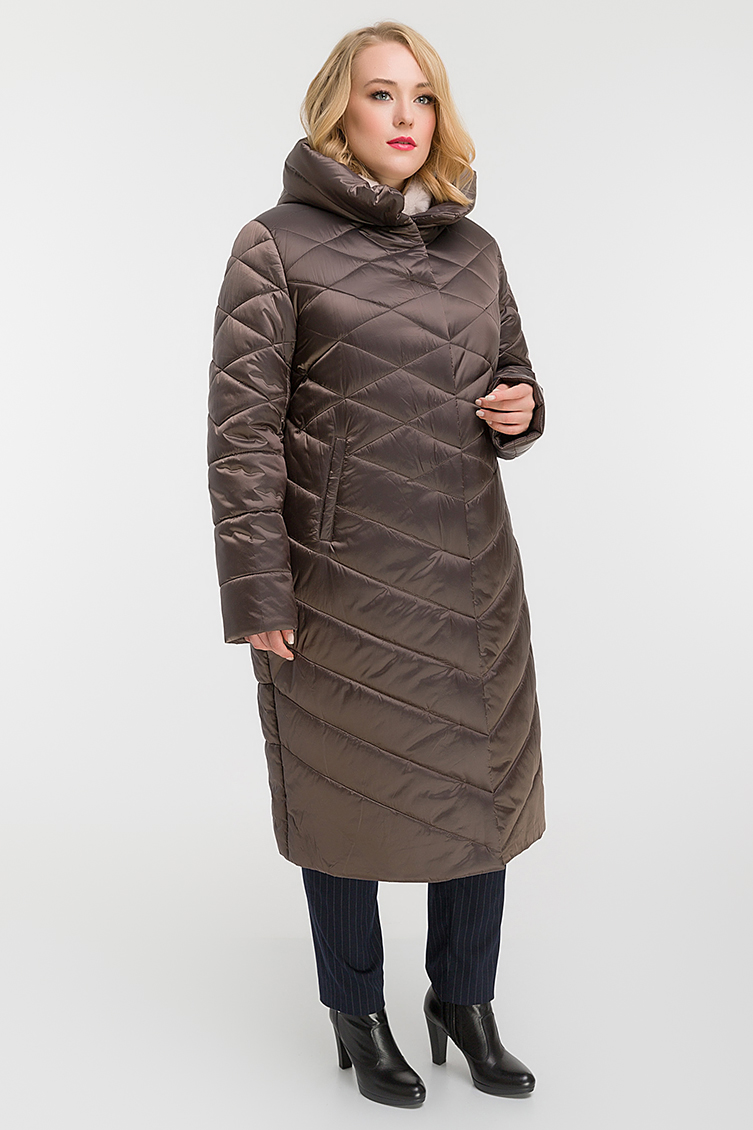 Женское пальто осень-зима на большой размер фото