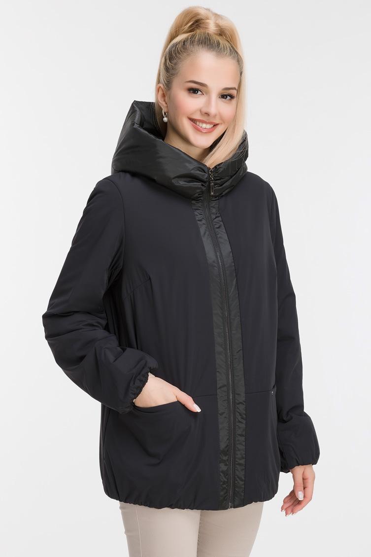 Модная комбинированная куртка с капюшоном