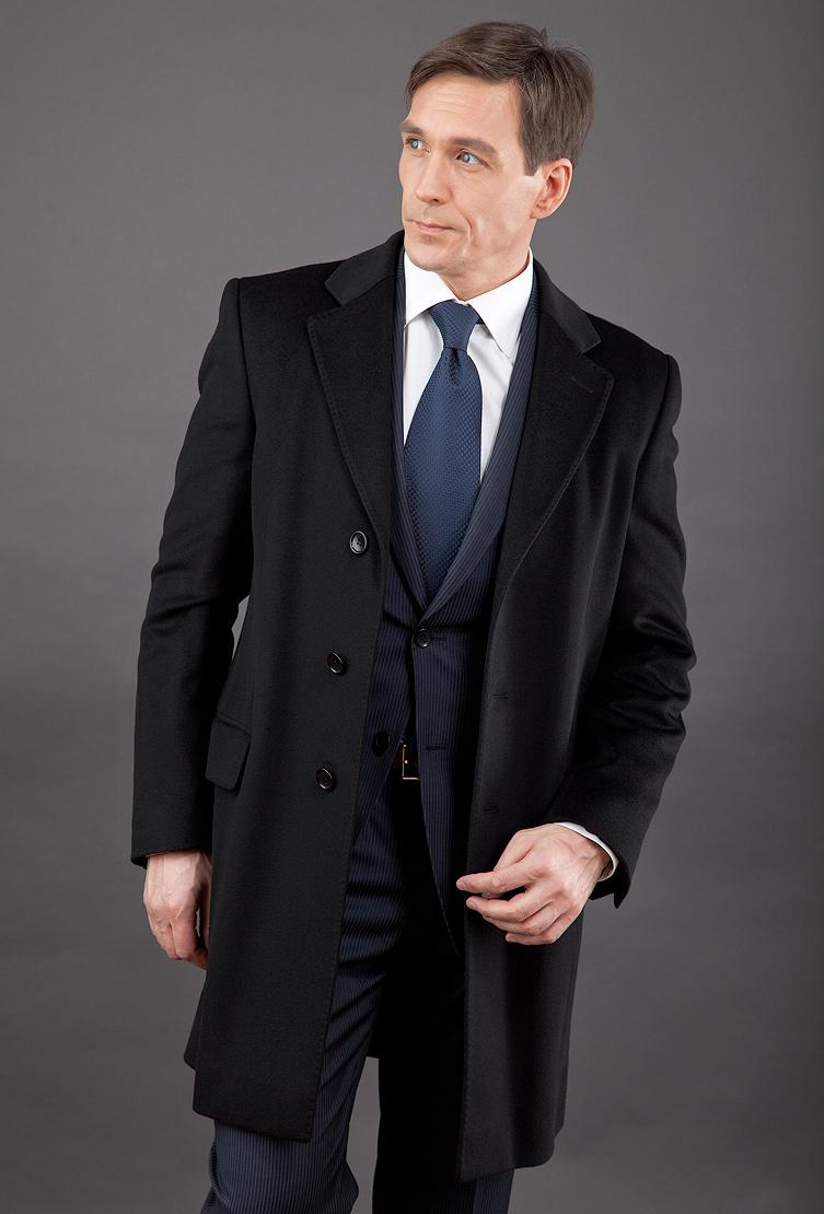 Черное пальто с английским воротником Teresa Tardia 70202/T24-черный