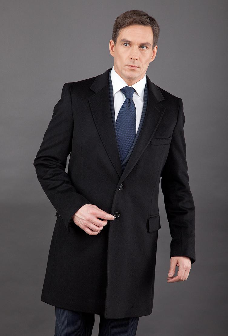 Классическое черное мужское пальто Teresa Tardia 71001/T21-черный