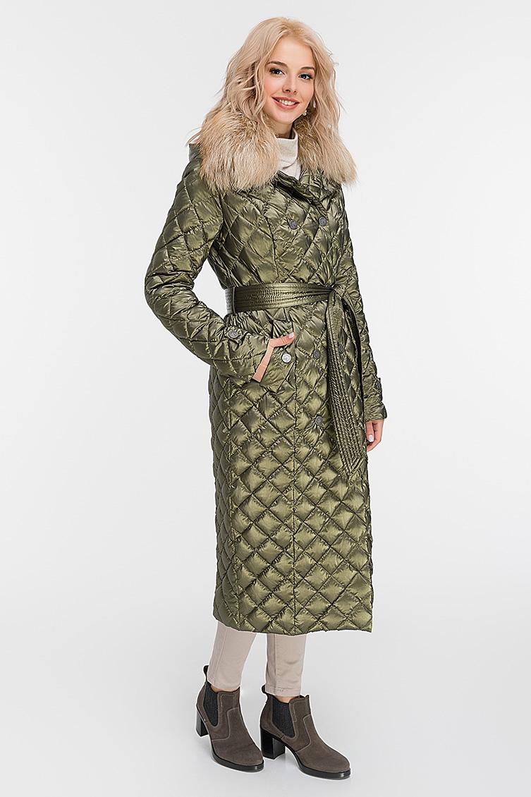 Двубортное пуховое пальто с мехом енота фото