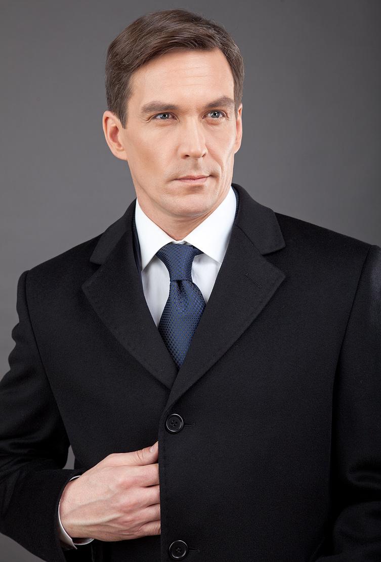 Черное однобортное пальто с тремя пуговицами Teresa Tardia 72211/T22-черный
