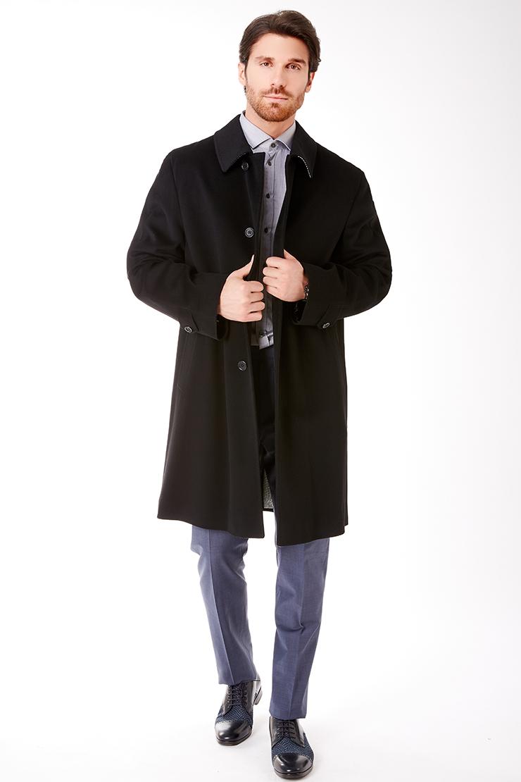 Мужское длинное пальто Teresa Tardia с глухим воротником 72228/T22-черный