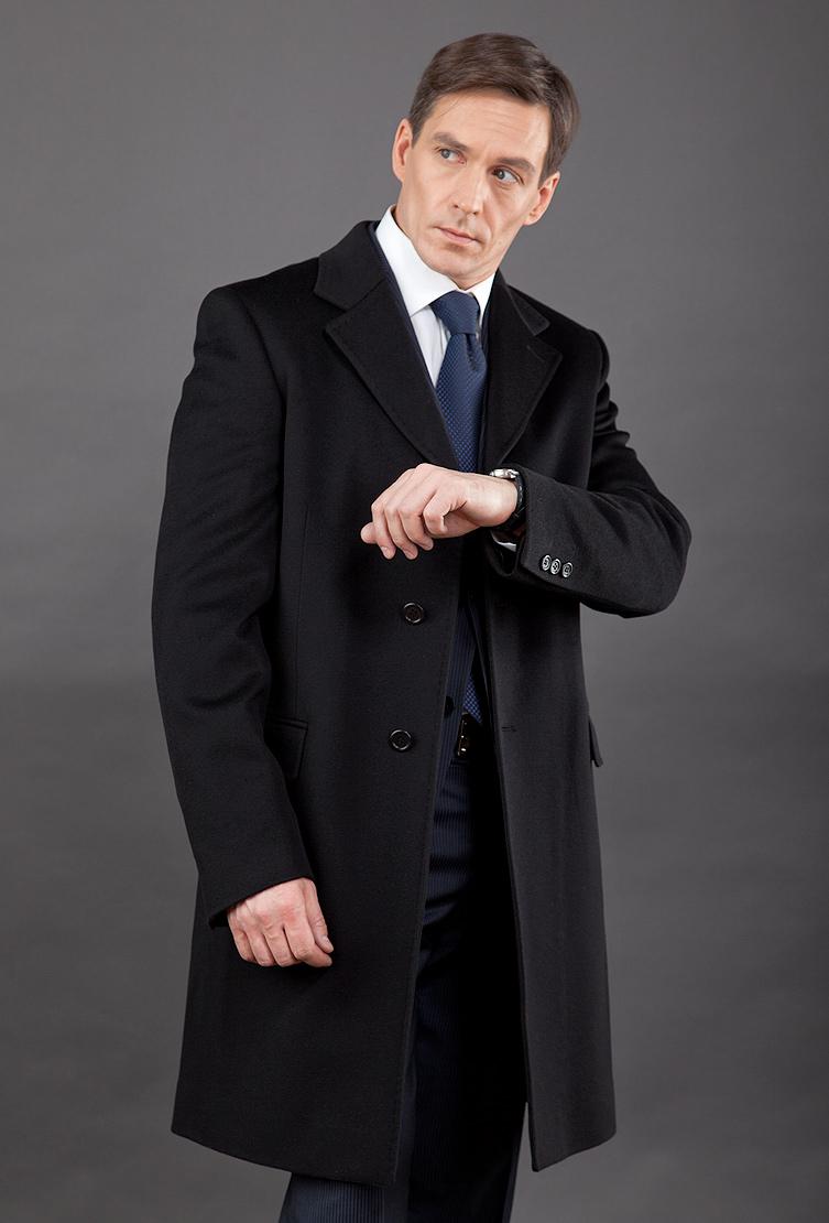 Классическое черное мужское пальто на высокий рост с английским воротником