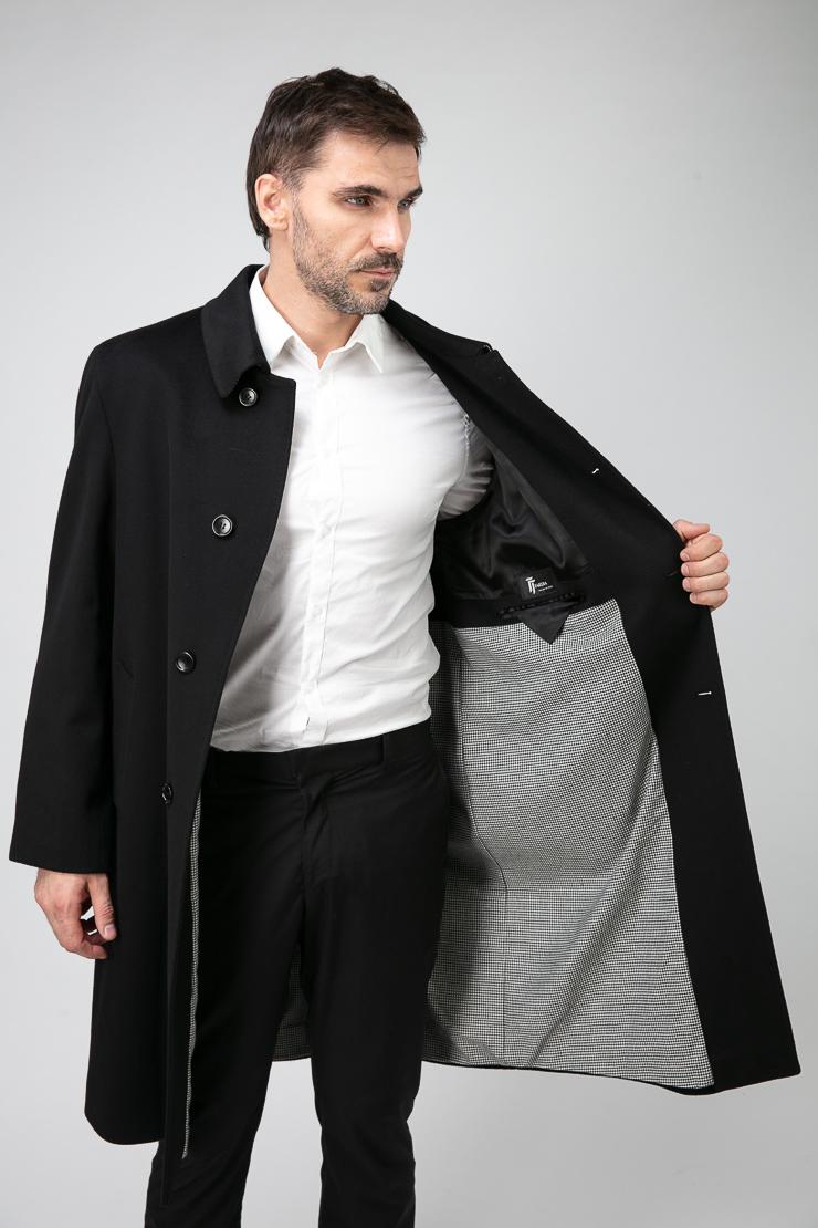 Длинное прямое мужское пальто из Италии с глухим воротником фото