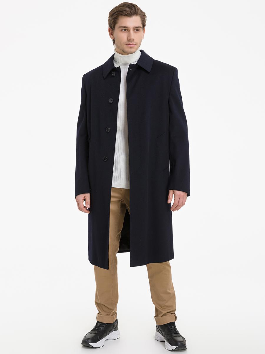 Мужское пальто большого размера с супатной застежкой и глухим воротником фото