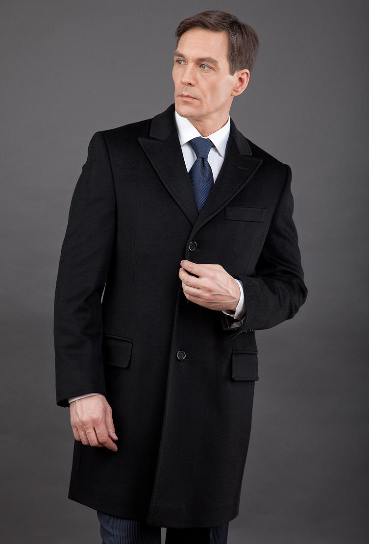Приталенное черное мужское пальто честерфилд длиной 3/4 Teresa Tardia 72803/T21-черный