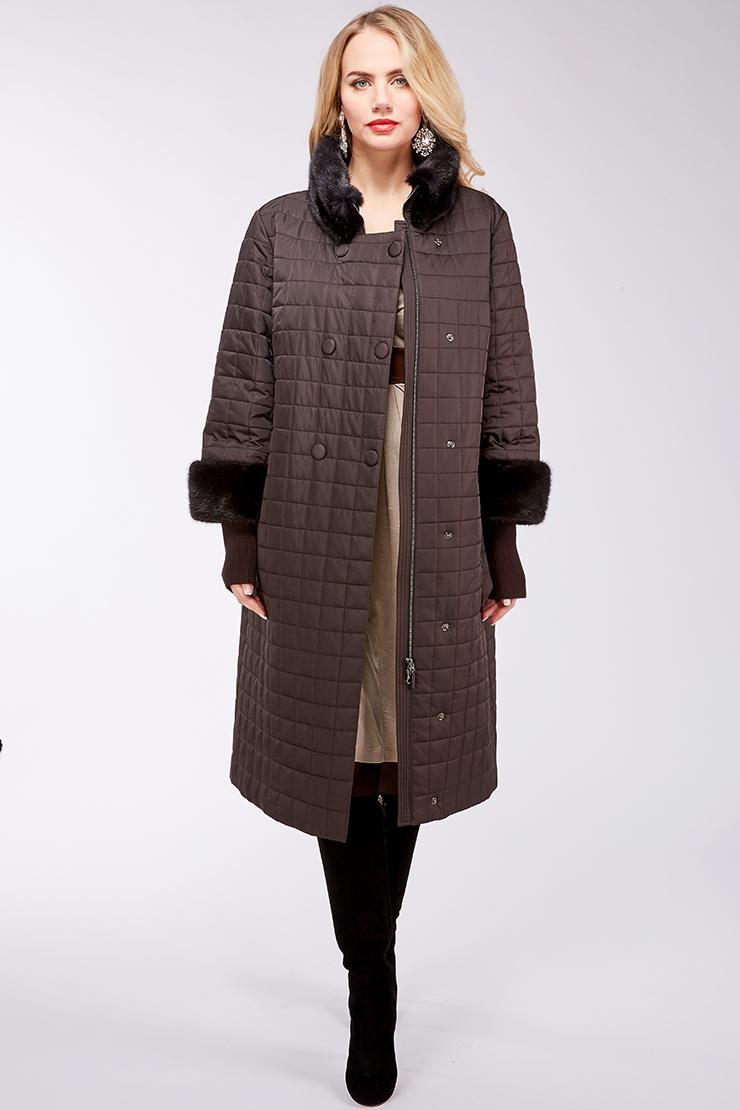Женское длинное пальто на верблюжьей шерсти с мехом норки