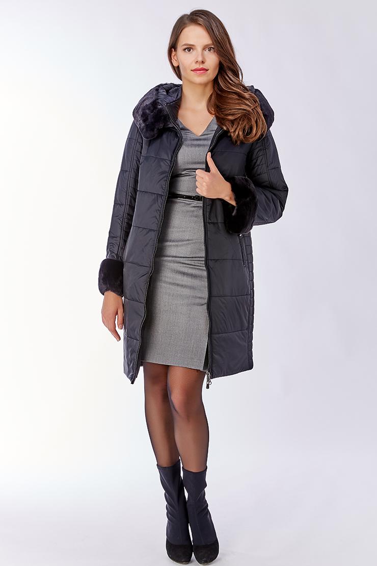 Демисезонное пальто на тинсулейте с мехом кролика Альбана 7646C/A03-черный