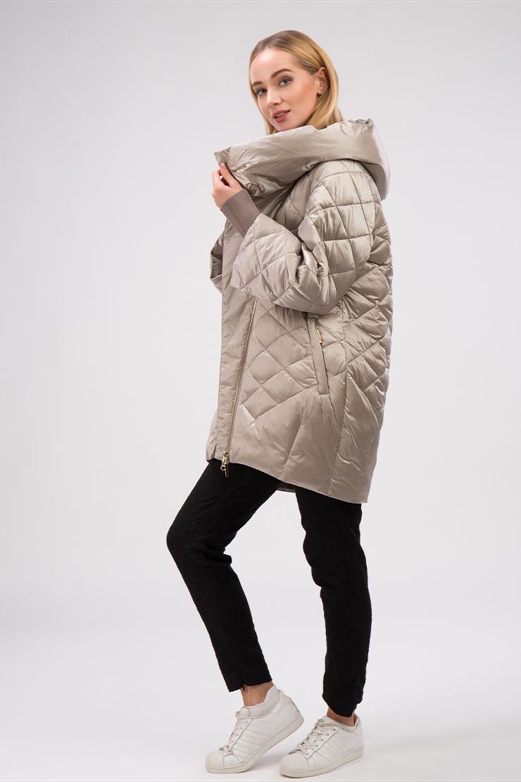 Купить со скидкой Женская длинная куртка с капюшоном и асимметричной молнией