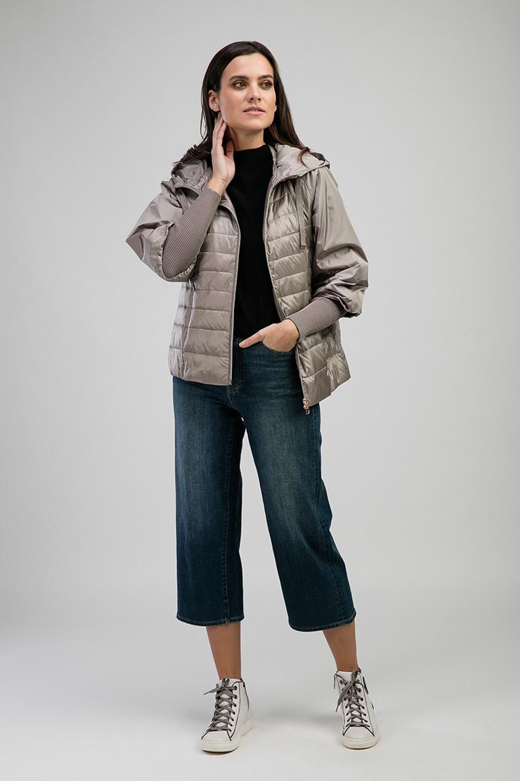 Бежевая женская короткая куртка Альбана 7874/A04-бежевый