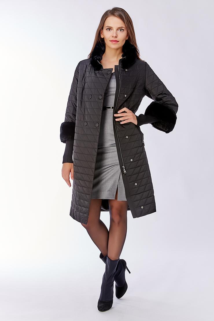Женское пальто с ромбовидной прострочкой и мехом кролика Альбана 7911T/A05-черный