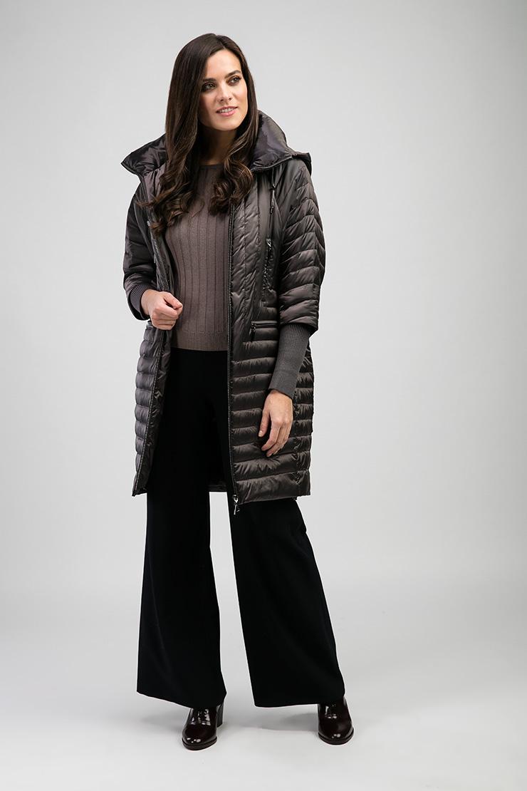 Весеннее пальто Альбана с капюшоном 7944/A04-кофейный
