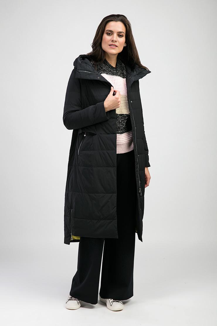 Длинное черное пальто Альбана с яркой подкладкой 7961/A04-черный