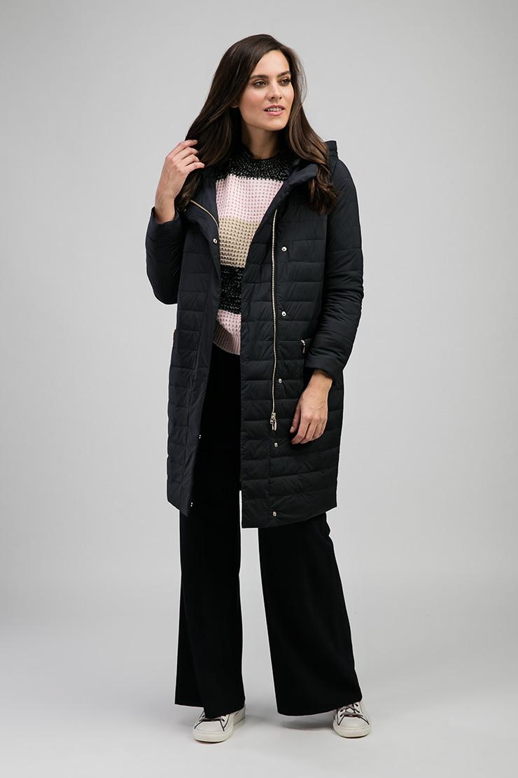 Черное женское пальто с горизонтальной простежкой Альбана 7963/A04-темно-синий