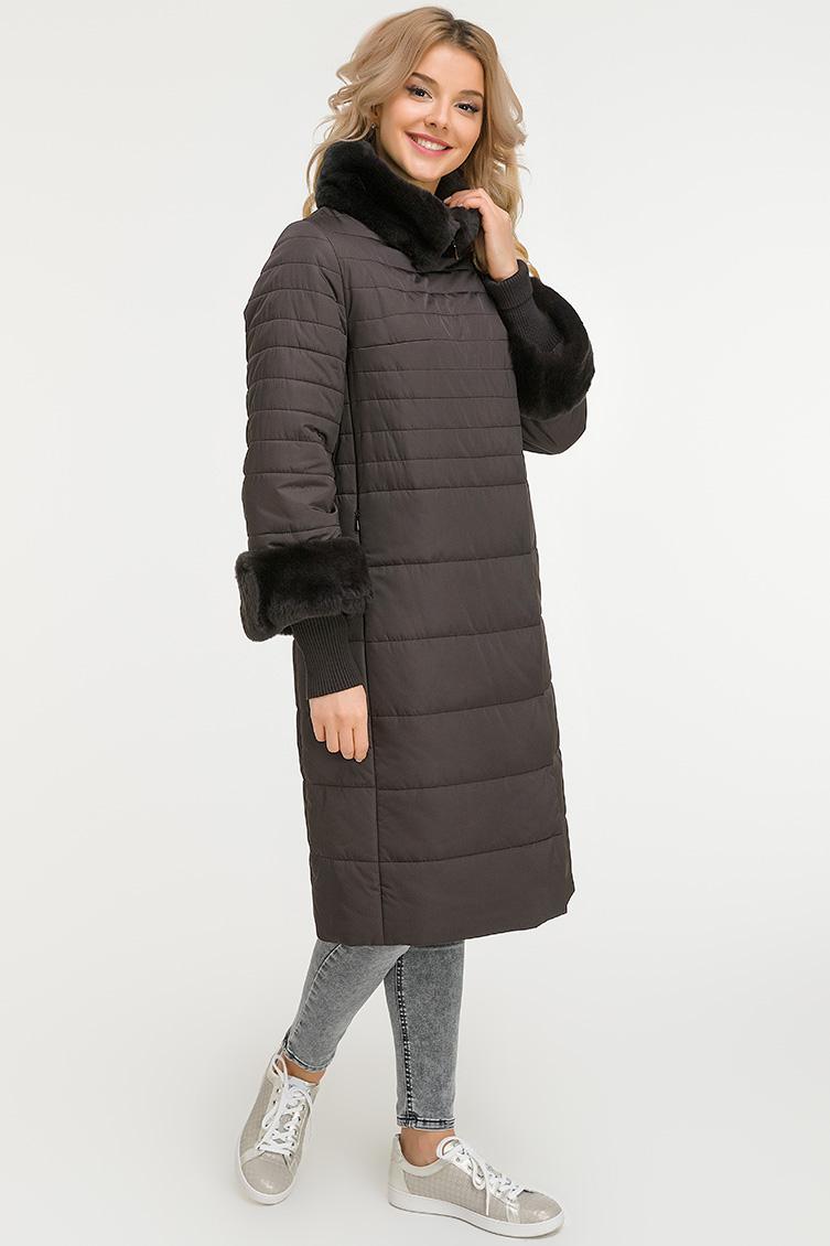 Женское демисезонное пальто на верблюжьей шерсти с мехом фото