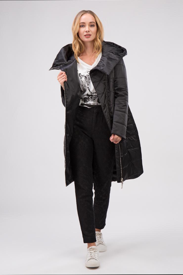 Пальто зауженного силуэта на молнии с капюшоном фото