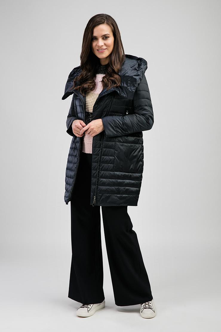 Женская темно-синяя куртка с накладными карманами Альбана 8006/A02-синий