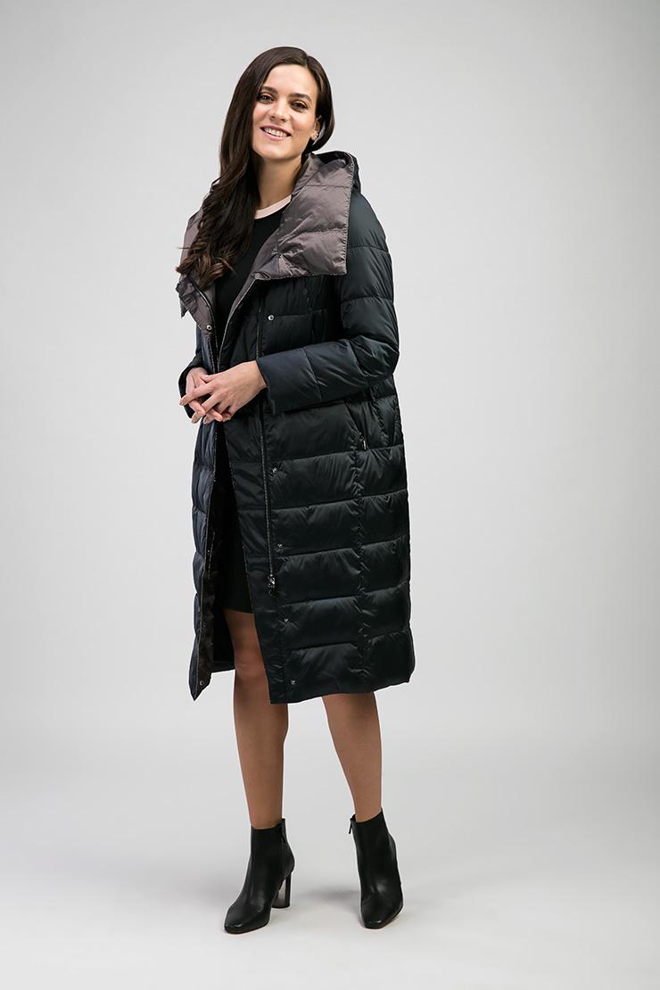 Синее женское пальто на молнии с капюшоном Альбана 8021/A04-синий