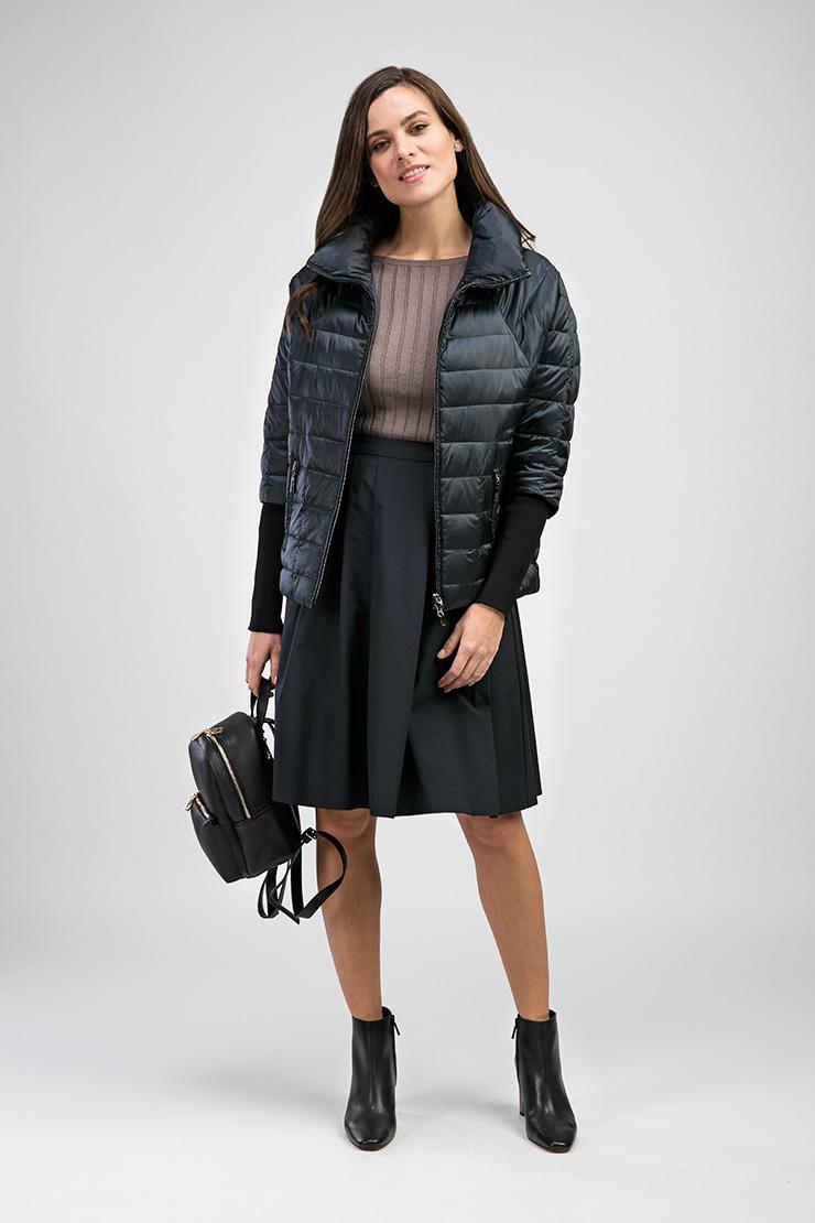 Модная женская куртка на весну с горизонтальной прострочкой Альбана 8035/A01-синий