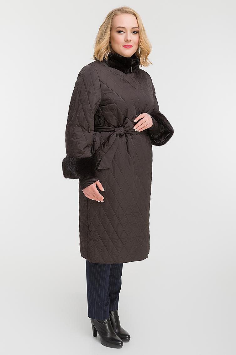 Стильное стеганое пальто осень-зима с норкой фото