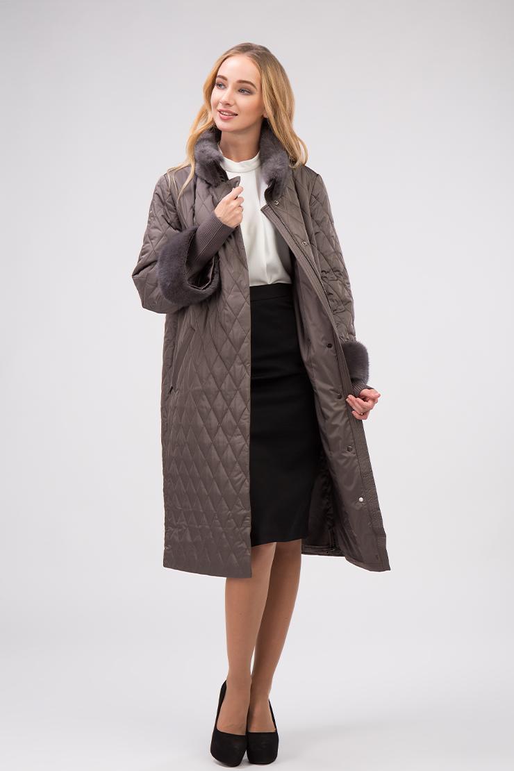 Прямое женское болоневое пальто с меховым воротником из норки фото