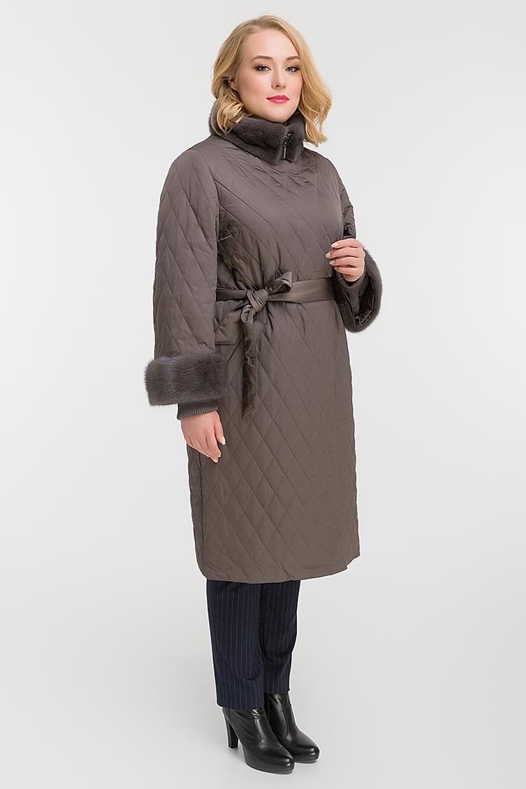 Длинное стеганое пальто с норкой фото
