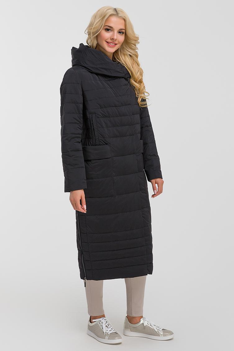 Длинное стеганое пальто осень-зима