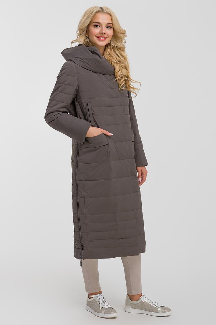 Длинное модное пальто с капюшоном фото