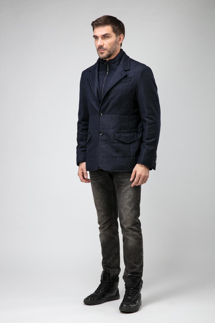 Купить со скидкой Итальянское короткое пальто с кожаной отделкой