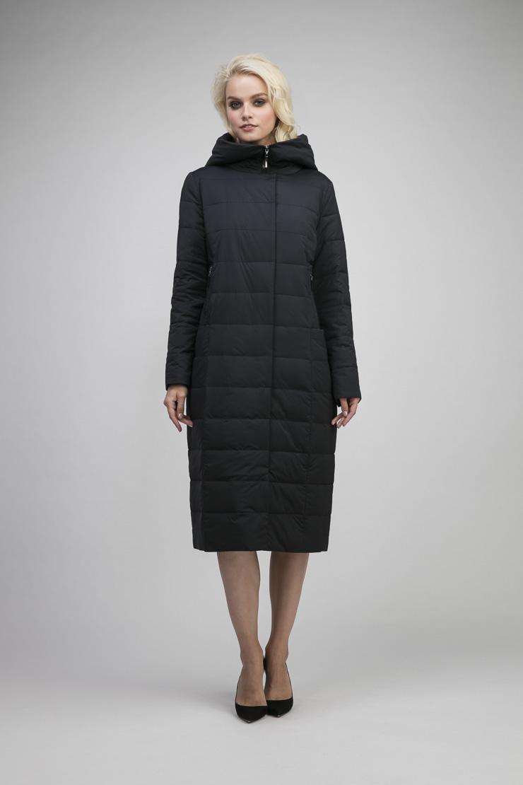 Болоневое стеганое демисезонное пальто на молнии Албана 8605/A04-синий
