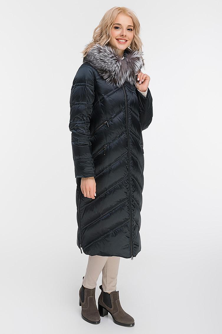 Пуховое пальто с чернобуркой фото