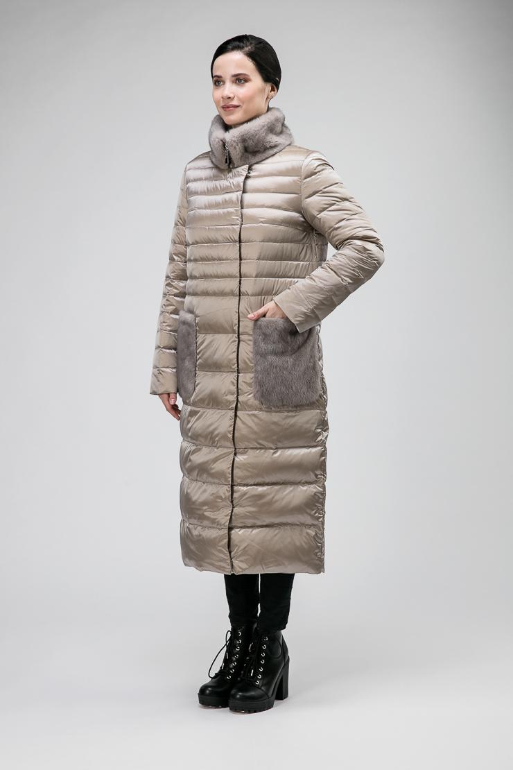 Модное длинное пуховое пальто без капюшона