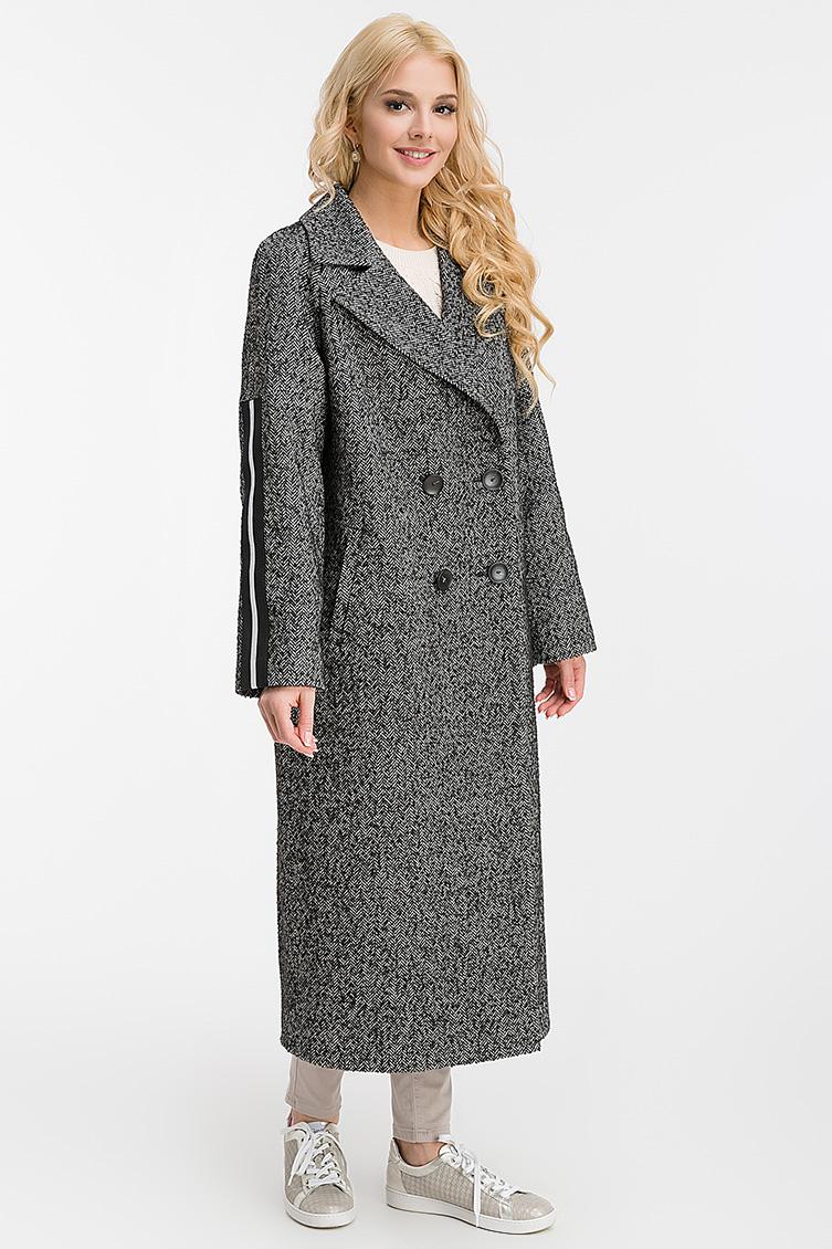 Двубортное длинное шерстяное пальто фото