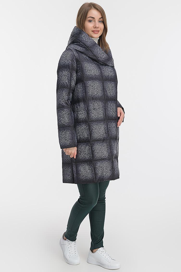 Прямое женское пальто в клетку фото