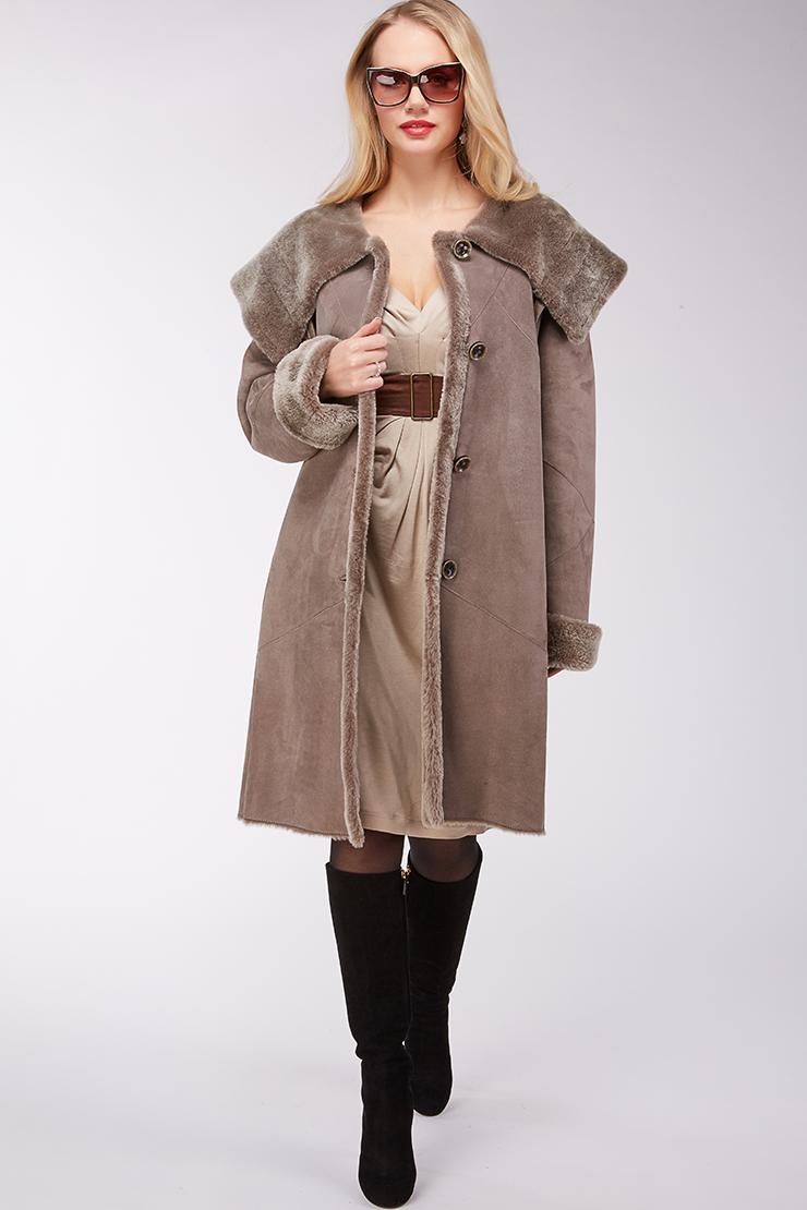 Модная женская дубленка из натуральной овчины Enrico Ferretti 9129_00/S01-бежевый