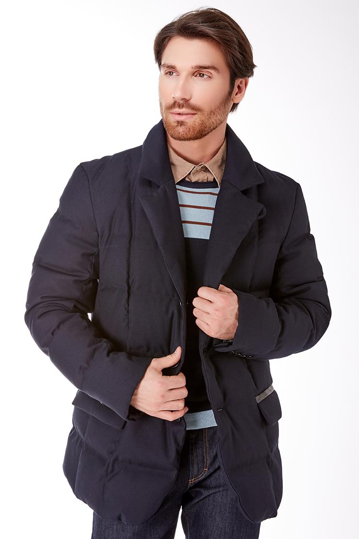 Стильная мужская куртка-пиджак из шерсти на пуху Bos Bison 926F/B37-синий