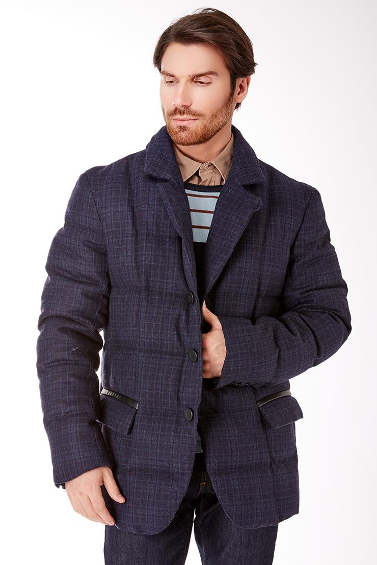Мужская пуховая куртка с кожаной отделкой Bos Bison 962K/B37-синий