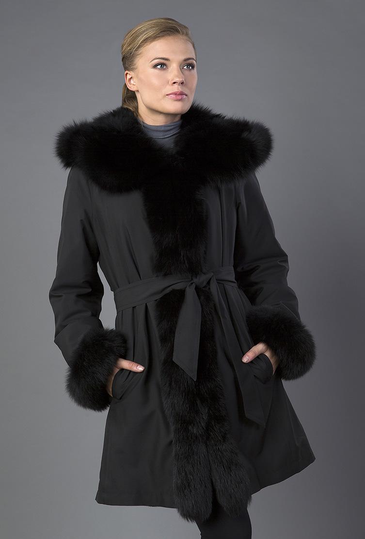 Зимнее пальто трапеция с капюшоном фото