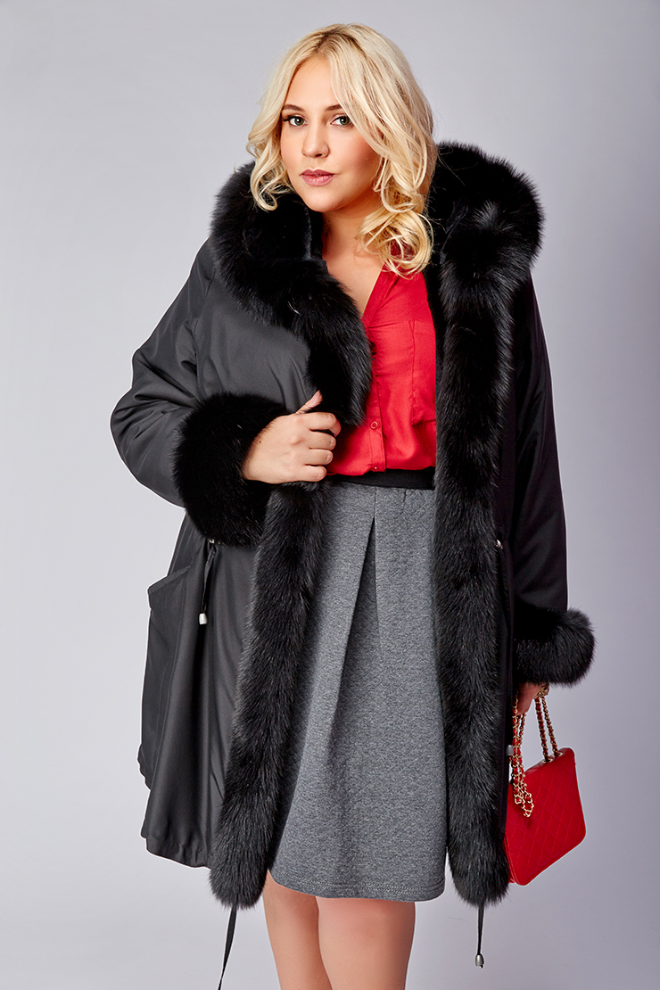 Зимнее женское пальто большого размера с песцом фото