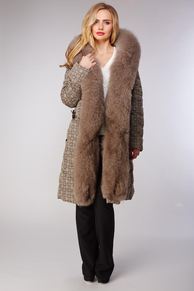 Пуховое пальто Visconf/Violanti с мехом песца. Производитель: Visconf/Violanti, артикул: 15331
