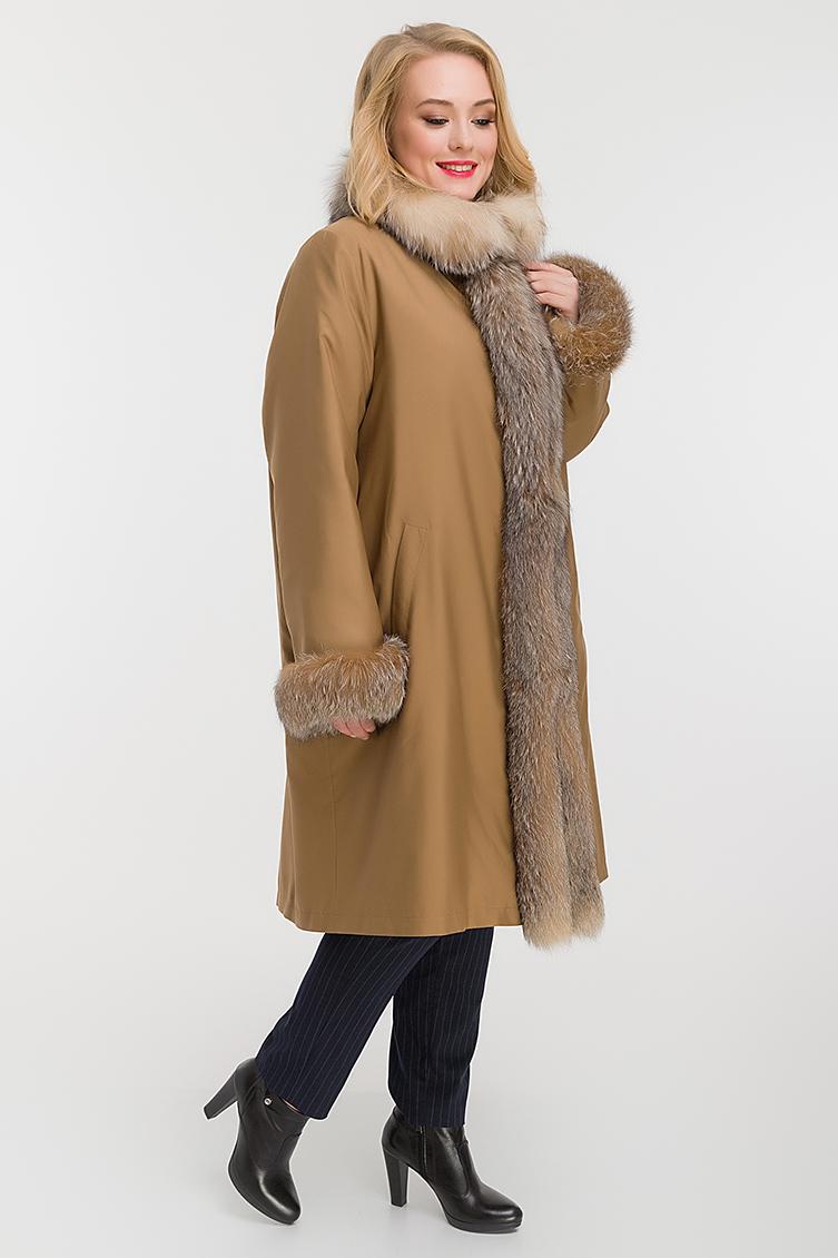 Теплое пальто на меху для больших размеров фото