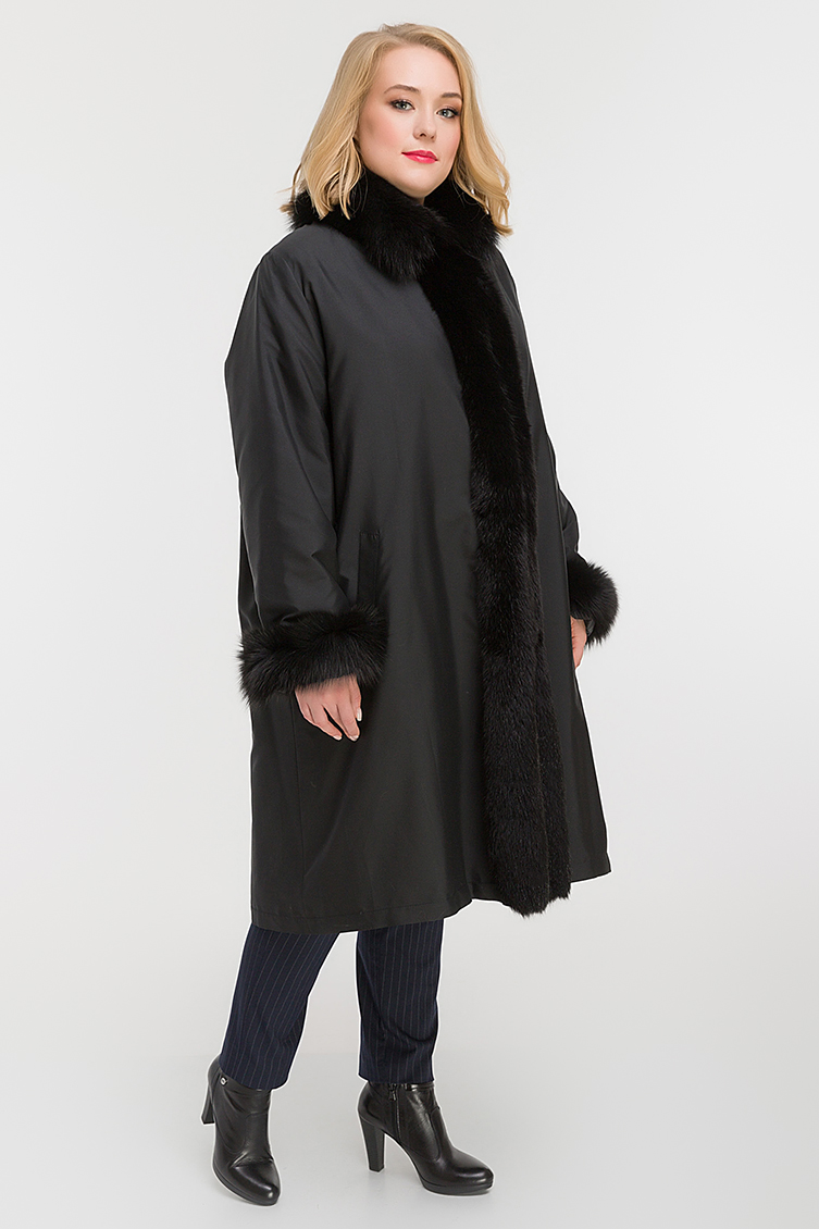 Зимнее пальто на меху кролика для больших размеров фото