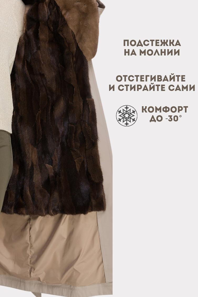 Модный женский тренч на меху норки фото