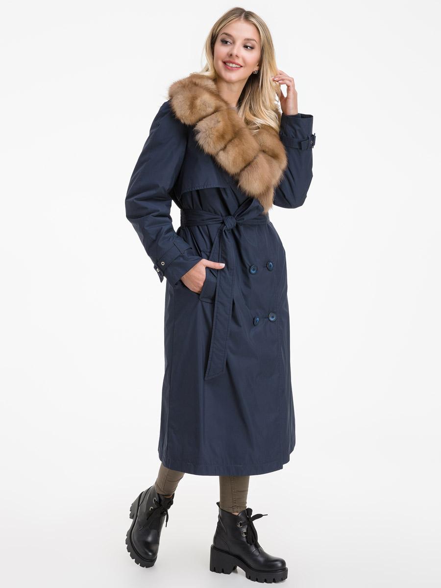 Зимнее длинное пальто с мехом фото