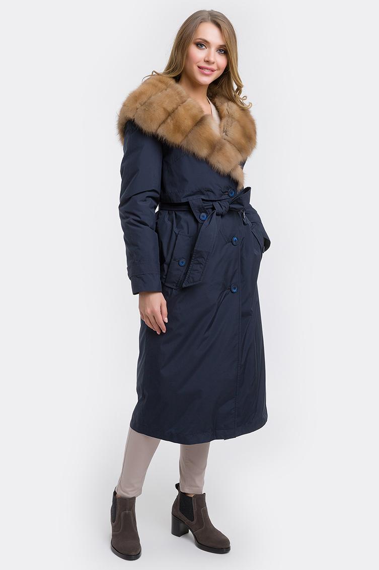 Прямое зимнее пальто на меху фото