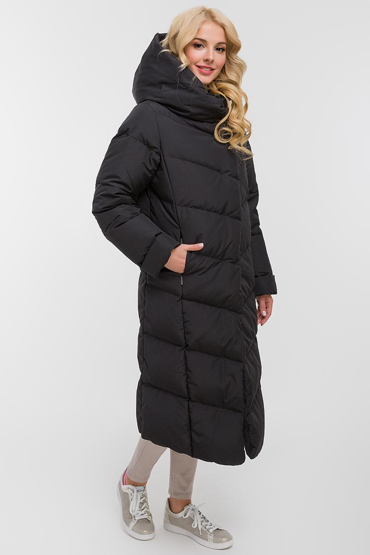 Зимний финский длинный пуховик с капюшоном фото